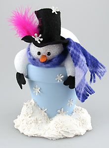 SNOWMAN ~ Christmas Clay Pot Crafts-Snowman