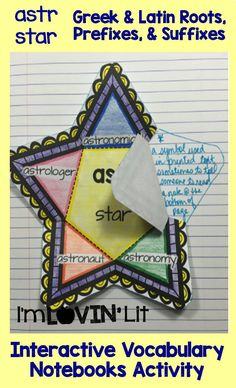 Astr - Star; Greek and Latin Roots, Prefixes and Suffixes Foldables; Greek and Latin Roots Interactive Notebook Activity by Lovin' Lit