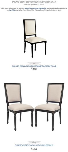 COPY CAT CHIC FIND: Ballard Design's Louis XVI Square Back Side Chair VS Overstock's Provincial side Chairs