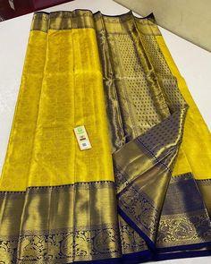 Wedding Saree Blouse Designs, Wedding Silk Saree, Mysore Silk Saree, Pure Silk Sarees, South Indian Bride, Indian Bridal, Yellow Saree Silk, Wedding Saree Collection, Market Price