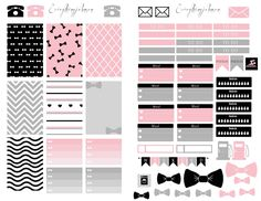 Free Printable Pink and Black Planner Stickers fromEverything Me Johnson