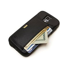 Clever idea for being able to carry things without a purse or wallet. ThinkGeek :: Q Card Wallet Case For Galaxy S4