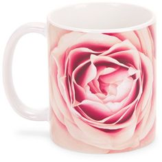 Society 6 Rose Porcelain Mug ($12) ❤ liked on Polyvore featuring home, kitchen & dining, drinkware, accessories, floral, pink, rose mug, floral mugs, porcelain mugs and pink mug