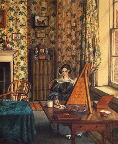 "Mary Ellen Best, in her studio, which was a room in her house, c 1838. This is just a detail from a watercolor that, like all her work, has mind-blowing detail. I found out about her when I stumbled across a book about her at my local Goodwill thrift store: ""Women's Worlds, Mary Ellen Best 1809-1891"" by Caroline Davidson."