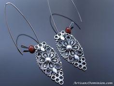 Ornate Filigree Silver Earrings, Vintage Replica Earrings,  Ancient Ethnic Jewelry,  Boho Gypsy Earrings, Tribal Filigree Jewelry, Uzbek