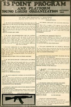 13 Point Program & Platform of the Young Lords Organization larger, in spanish, and the rules of discipline Puerto Rican Slang, Puerto Rican People, Puerto Rico History, 6th Grade Ela, Political Prisoners, Self Determination, Alternate History, Power To The People, Historical Images