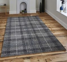 These on trend neutral coloured tartan rugs have a very dense & high quality pile made from polypropylene. Perfect for heavy traffic areas of the home due to their high durability, these rugs are made to last! Non-shedding and easy to clean. Carpet Decor, Diy Carpet, Rugs On Carpet, Carpet Ideas, Carpets, Hall Carpet, Tartan Carpet, Scottish Decor, Dark Grey Rug