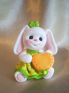 bunny rabbit birthday cake topper Christmas ornament  polymer clay personalized childrens gift animal pet. $17.95, via Etsy.