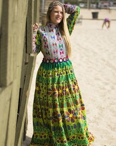 Mahnaz Green Afghan Dress