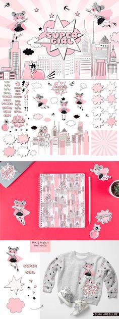 Super Hero Girl clip-arts by olga.angelloz on Illustration Girl, Pencil Illustration, Adobe Illustrator Software, Doll Drawing, Girls Clips, Girl Clipart, Hero Girl, Superhero Party, Creative Sketches