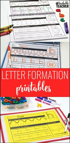 Letter formation printables that are great for teaching handwriting! I love how they can be used as worksheets or as centers. Great handwriting practice for back to school!