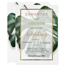 Modern gold tropical green monstera leaf wedding card - wedding invitations cards custom invitation card design marriage party