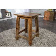 Tabouret 45cm contemporain en bois massif Eco Furniture, Solid Wood Furniture, Borneo, Teak, Design Rustique, Round Stool, Style Vintage, Wood Design, Chair Design