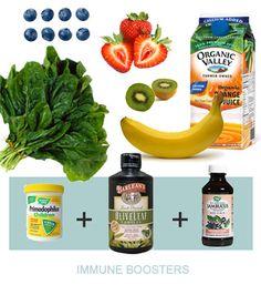 Ingredients in the immunity boosting green smoothie.