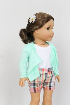 Mint Green Cascade Cardigan and Coral Plaid Shorts for AG Dolls by SparrowAndWrenMerc on Etsy