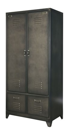 Metal Locker Style Wardrobe in Black from Cuckooland. This industrial style wardrobe is a perfect storage solution for an industrial style bedroom. Childrens Bedroom Storage, Girls Bedroom Storage, Vintage Lockers, Metal Lockers, Diy Kitchen Storage, Small Bathroom Storage, Industrial Style Bedroom, Industrial Metal, Industrial Storage Cabinets