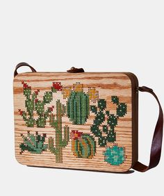 Plants Cross Stitched Oak Wood Bag by Grav Grav $490 handbags wallets - amzn.to/2ha3MFe - Handbags & Wallets - http://amzn.to/2hEuzfO