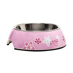 Rogz 2-in-1 Bubble Bowl with Pink Floral Design Available at 5rooms.com Dog Bowls, Floral Design, Bubbles, Beide, Dogs, Pink, Pastels, Designer, Animal