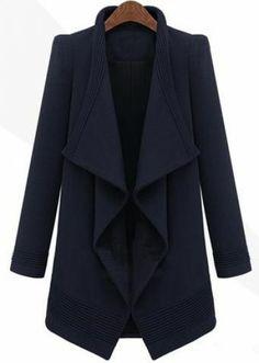 Navy Long Sleeve Asymmetrical Coat