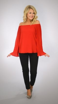 Pleated Sleeves Top, Red