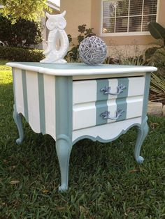 vintage french provincial end table, love the stripes