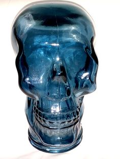 Glass Skull Blue Heavy Glass Head or Hat Display Looks Great W Lights Made Spain