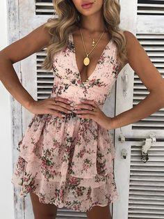 Floral Deep V Layered Ruffles Mini Dress - Summer Dresses Elegant Dresses, Women's Dresses, Cute Dresses, Dresses Online, Short Dresses, Short Floral Dress, Ruffled Dresses, Floral Sundress, Pink Floral Dress