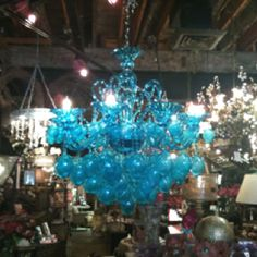 Amazing blue glass chandelier in Old Town.