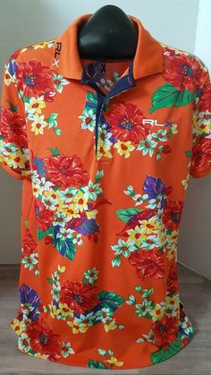 b62ea8ae Mens Ralph Lauren RLX Orange Hawaiian print Polo Shirt Size L #fashion # clothing #