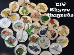Make your own rhyming magnets.  FREE activity template and pictures!  Step-by-step directions.