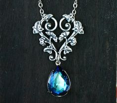 Bermuda Blue Crystal Vine Necklace by robinhoodcouture on Etsy, $28.00