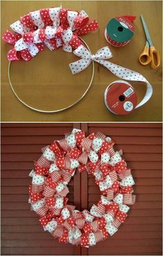 Wreaths, cute for little girls room. Something like this would be precious for Maggie's door. I have tons of ribbon left from making bows too.