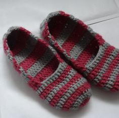 Crochet Slippers for Women  striped  pink and gray Adult by Ifonka, $18.00