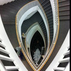 Staircase Inside MCA Chicago Looking Down From Floor To Koi Pond On Floor