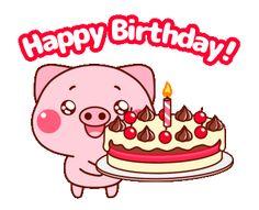 Happy Birthday Pig, Cute Birthday Wishes, Happy Birthday Wishes Quotes, Birthday Pins, Birthday Messages, Birthday Images, Birthday Greeting Cards, Happy B Day Images, Gifs