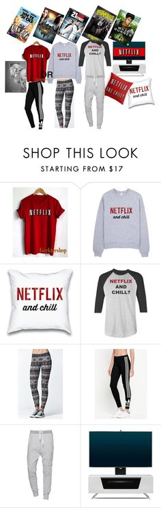 """""""#NETFLIX AND CHILL"""" by miaaa08 ❤ liked on Polyvore featuring LA: Hearts, adidas Originals, True Religion, Alphason, Paul Brodie and R2"""