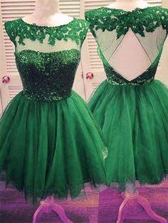 2017 Sexy Prom Dress,Green Tulle Prom Dresses,Short Graduation