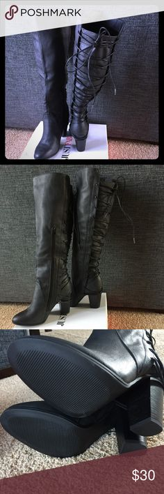 NIB Just fab knee high black boots size 9 New, never worn black knee high boots size 9. Inside zipper and back lacing with tie at the top. Super cute!! JustFab Shoes Over the Knee Boots
