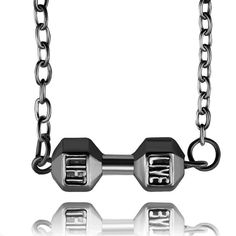 1pc Fashion Charms Elegant Chain Silver Plated Dumbbell Life Pendant Necklaces Long Link Chains Womens Jewelry