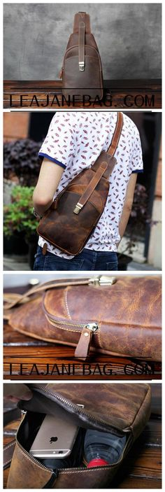 New Leather Chest Crossbody Bag, Men's Leather Chest Bag,Gifts For Mens OAK-045