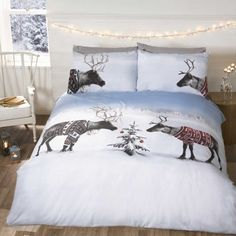 Reindeers in Jumpers snowy winter Christmas duvet cover, festive bedding. Single, Double & Kingsize bedding for kids & adults