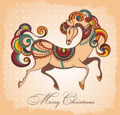2014 Horse Year creative vector background 02