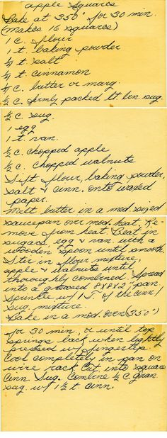 Apple Squares | I'm a sucker for handwritten recipes that look like they have been around for ages