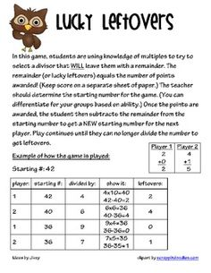 Lucky Leftovers Game - Be sure to check out my Common Core Aligned Division Unit for more games, small group ideas, graphic organizers, and more! I also have Place Value . Math Tutor, Math Teacher, Math Classroom, Teaching Math, Teaching Ideas, Classroom Ideas, Math Enrichment, Math Activities, Math Stations