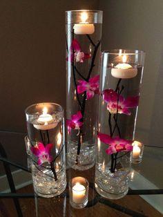 Simple Do-It-Yourself Cheap Wedding Centerpieces Ideas Bastel Dollar Tree Centerpieces, Floating Candle Centerpieces, Wedding Table Decorations, Floral Centerpieces, Wedding Centerpieces, Flower Arrangements, Centerpiece Ideas, Diy Flower Vases, Floral Wedding
