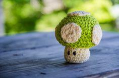 Super Mario Bros Amigurumi 1up Mushroom Made To Order. $20.00, via Etsy.