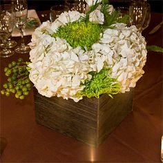 Green and White Wedding Centerpiece   