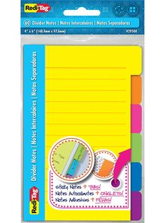Amazon.com : Redi-Tag Divider Sticky Notes 60 Ruled Notes, 4 x 6 Inches, Assorted Neon Colors (29500) : Sticky Note Pads : Office Products