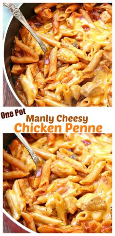 Penne Pasta and chicken simmered in savory MANWICH sauce with hot, melted cheese: cooked to perfection in a single pot! #YesYouCAN #Ad @walmart                                                                                                                                                                                 More