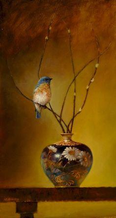 Eastern Bluebird Satsuma Vase by Lori Mcnee